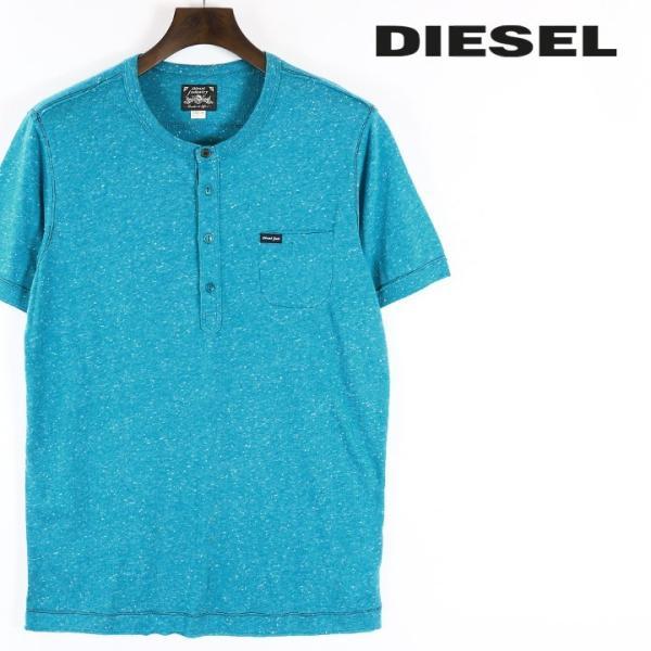 ディーゼル DIESEL Tシャツ カットソー メンズ ネップ加工 カットオフ ヘンリーネック 半袖 T-COSME|tutto-tutto
