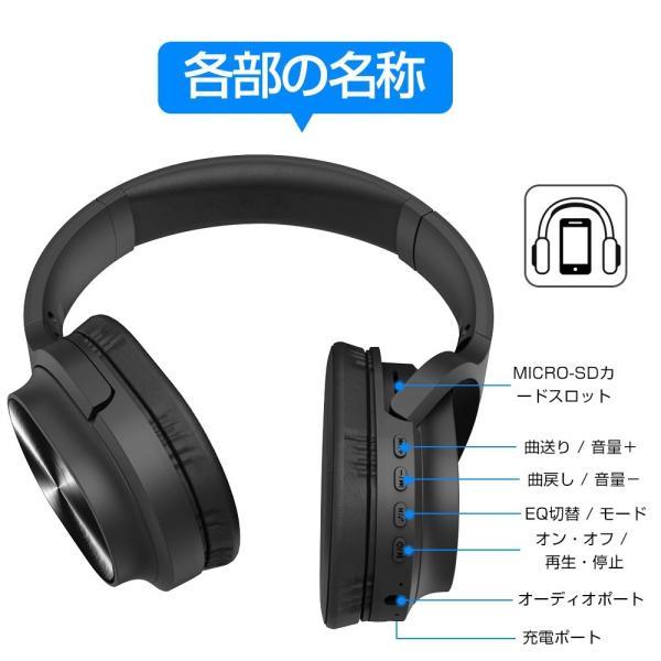 ワイヤレスヘッドフォン Bluetooth5.0 ワイヤレスヘッドホン 重低音 高音質 折りたたみ式 ケーブル着脱式 音漏れ防止 充電式 無線 有線 イヤホン マイク内蔵|tutuyo|20