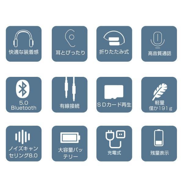 ワイヤレスヘッドフォン Bluetooth5.0 ワイヤレスヘッドホン 重低音 高音質 折りたたみ式 ケーブル着脱式 音漏れ防止 充電式 無線 有線 イヤホン マイク内蔵|tutuyo|03