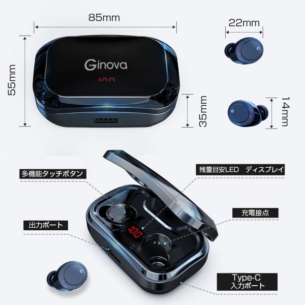 ワイヤレスイヤホン bluetooth5.0 ブルートゥースイヤホン カナル型5000mAh大容量 片耳両耳重低音LED残量表示 IPX7防水iPhone Android Siri対応|tutuyo|17