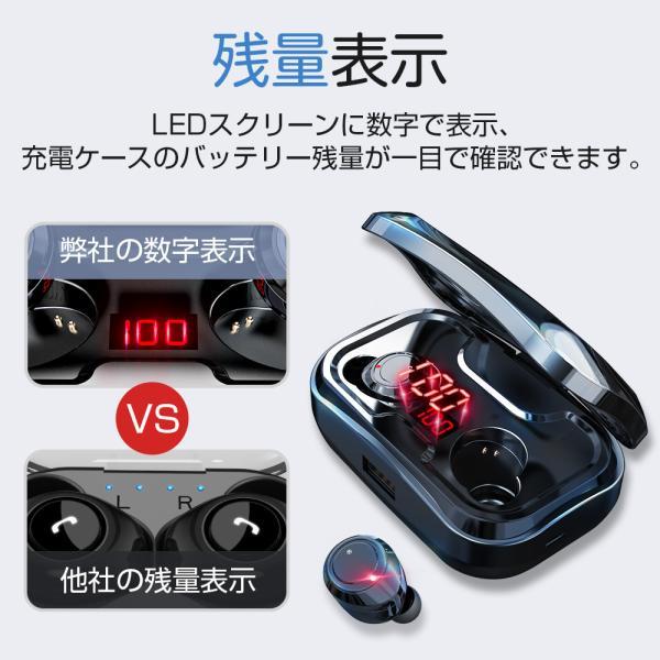 ワイヤレスイヤホン bluetooth5.0 ブルートゥースイヤホン カナル型5000mAh大容量 片耳両耳重低音LED残量表示 IPX7防水iPhone Android Siri対応|tutuyo|04
