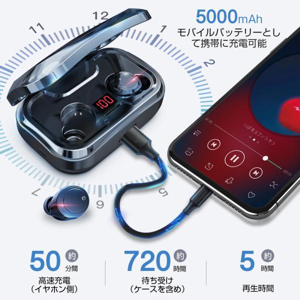 ワイヤレスイヤホン bluetooth5.0 ブルートゥースイヤホン カナル型5000mAh大容量 片耳両耳重低音LED残量表示 IPX7防水iPhone Android Siri対応|tutuyo|06