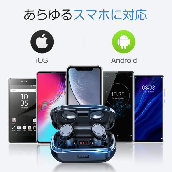 ワイヤレスイヤホン bluetooth5.0 ブルートゥースイヤホン カナル型5000mAh大容量 片耳両耳重低音LED残量表示 IPX7防水iPhone Android Siri対応|tutuyo|10