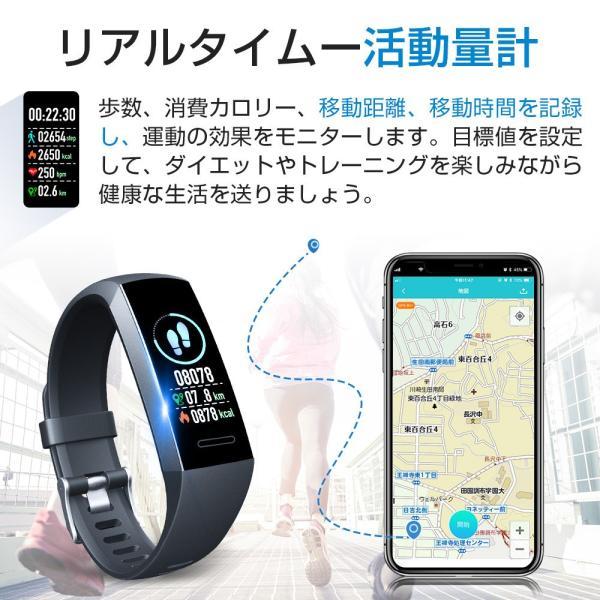 itDEAL スマートウォッチ ブレスレット iphone Android line対応 心拍計血圧計 腕時計 着信通知 ipx67防水 Bluetooth GPS 歩数計測 スポーツ|tutuyo|08