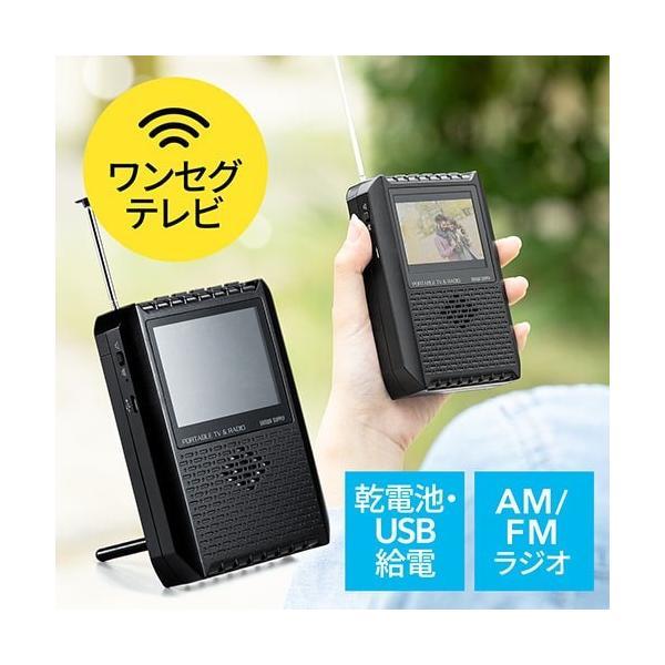 ポータブルテレビ ワンセグテレビ FM/AMラジオ搭載 アンテナ内蔵 電池/USB給電