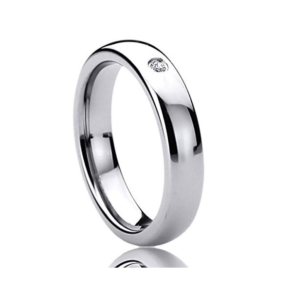 4MM Titanium Womens Rings Single CZ Setting Domed Comfort Fit Classy W