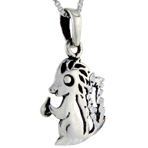 Sterling Silver Skunk Pendant, 1 inch tall|twilight-shop