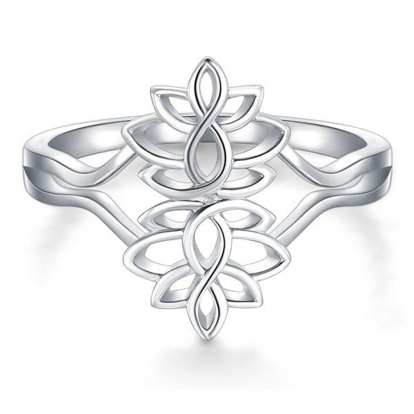 BORUO 925 Sterling Silver Ring, Lotus Flower Yoga High Polish Plain Do