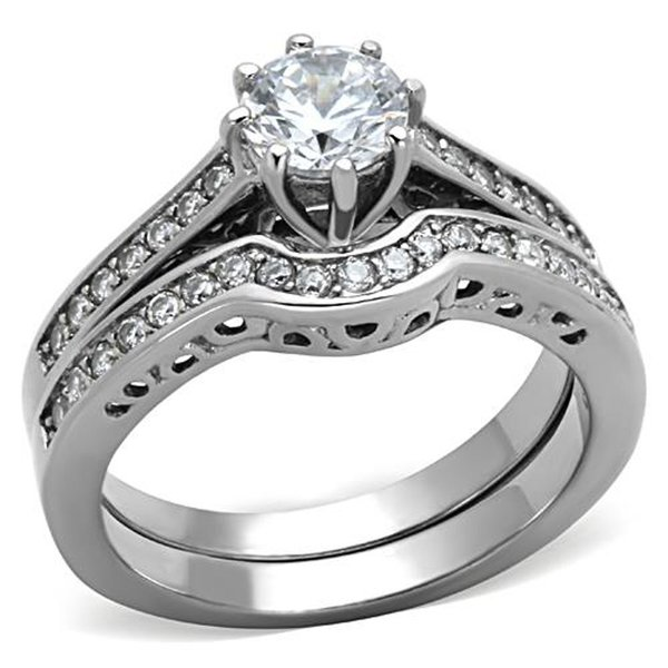 3.20 Cwt. Round Cut Aaa Cz Cubic Zirconia High Polish Stainless Steel