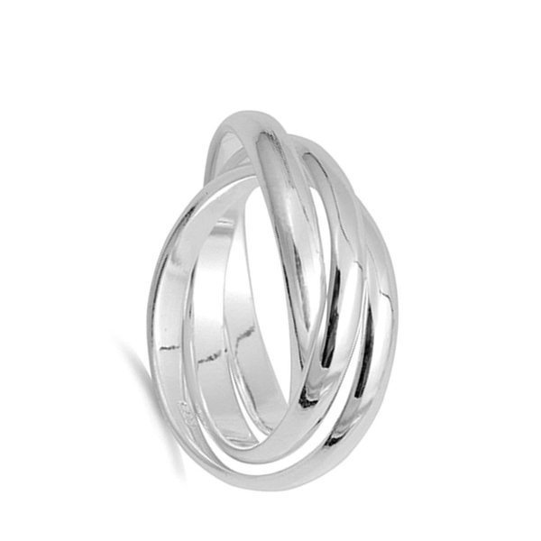 Triple 3mm Rolling Wedding Ring New .925 Sterling Silver Stacked Band
