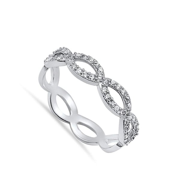 Eternity Clear CZ Classic Ring New 925 Sterling Silver Stackable Band