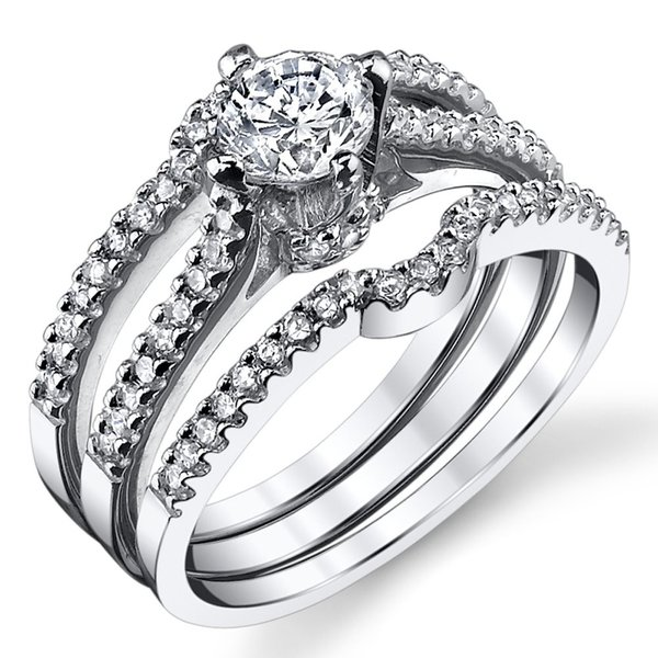Sterling Silver Cubic Zirconia 0.75 Carat TW Round Cut Wedding Engagem