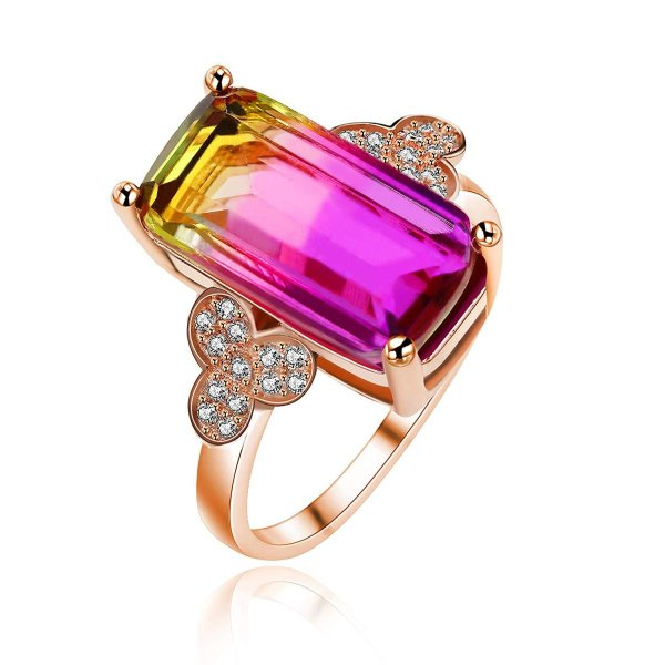 Uloveido Created Tourmaline Gemstone Rings18k Rose Gold Plated Ring wi