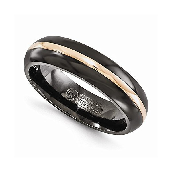 Edward Mirell Black Ti with 14k Rose Gold Domed 6mm Band