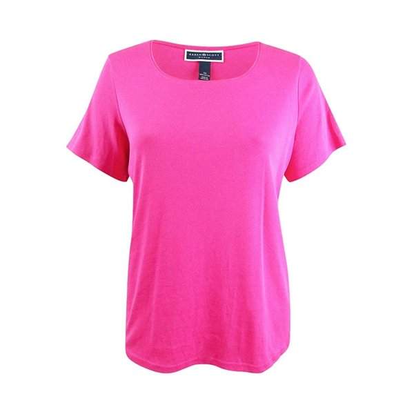 Karen Scott Plus Size Cotton Scoop-Neck T-Shirt in Wild Punch Pink (1X
