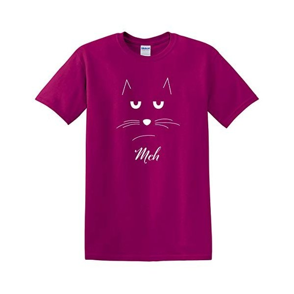Meh Cat Face Outline Berry Purple Cotton Fabric Fashion T-Shirt Large