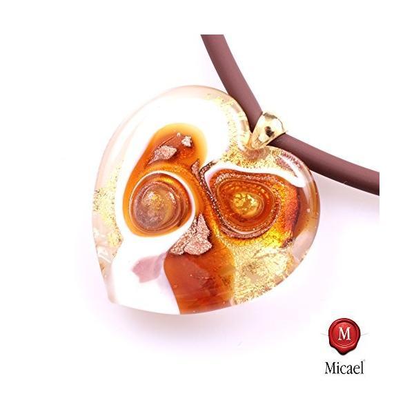 ノーブルMurano Glass Heart「バレンシア」incl. chain-amber-gold