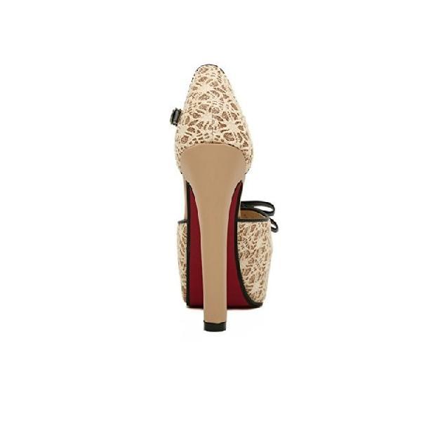 Jelesion 2014レディースHighスクエアヒールプラットフォームポンプ靴ビッグサイズレースレディースパンプス夏靴( 6?)