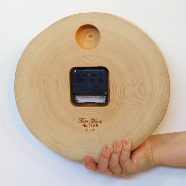 木製 電波時計 桧(ひのき)年輪 [26cmサイズ]  No.1170|twinheartspro|06