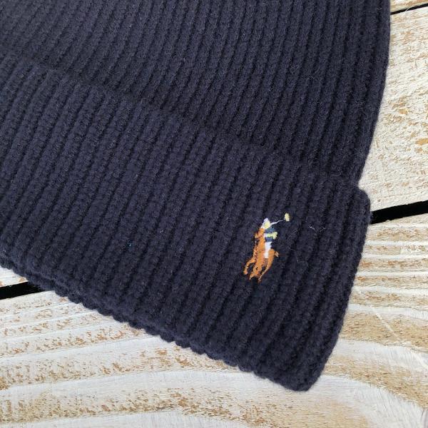 POLO RALPH LAUREN SIGNATURE MERINO WOOL WATCH CAP ポロラルフローレン サイド ロゴ ニットキャップ