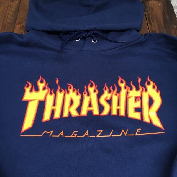 【SALE】THRASHER MAGAZINE FLAME LOGO T HOODIE  スラッシャー マガジン フレイムロゴ スウェット パーカー ''NAVY ネイビー''|twins-cricket|06