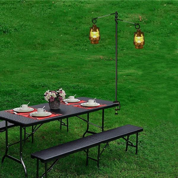 ランタンスタンド テーブルタイプ ランタンポール コンパク ランタンハンガー ランタンフック付き 収納袋付きランタンスタンド (シルバー) twopieces 13