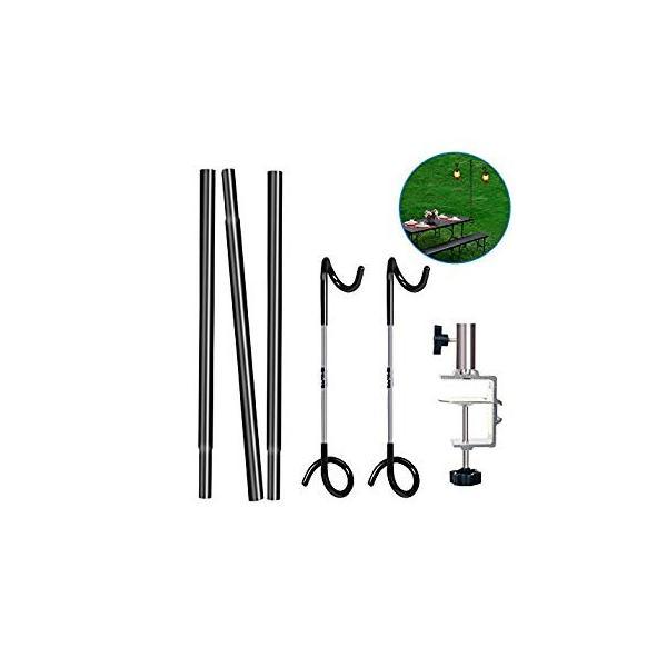 ランタンスタンド テーブルタイプ ランタンポール コンパク ランタンハンガー ランタンフック付き 収納袋付きランタンスタンド (シルバー) twopieces 04