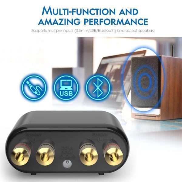 Douk Audio Mini Bluetooth 5.0 パワーアンプ HiFi デジタル スピーカー アンプ USB 100W