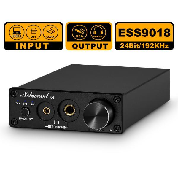 ESS9018USBDACOPT/COAXデジタルアナログコンバーターヘッドフォンアンプ24Bit/192kHz