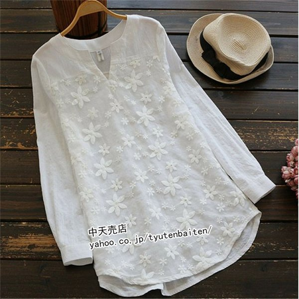 ブラウスレディース白シャツ刺繍レースブラウス長袖トップスシャツ春シャツ2021 着やせ大人大きいサイズ通勤30代~50代春秋服ゆ