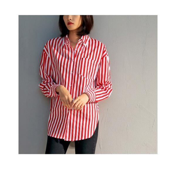 763b4fccba574 ... ワイシャツ シャツ ブラウス 開襟 ストライプ ロング丈 大きいサイズ 清潔感 カジュアル 肌触りよい ゆったり感