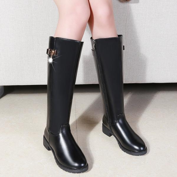 d792f036144edb ... パーティー ブーツかわいい長靴ロング ブーツレディース 黒ブーツ小さい大きいサイズ4cmヒールさローヒール ...