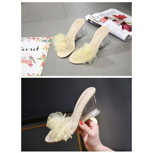 レディースサンダル 約8.5cmヒールきれいめ花柄サンダル美脚全3色サンダルクリアサンダル セクシーサンダル22cm〜25cm