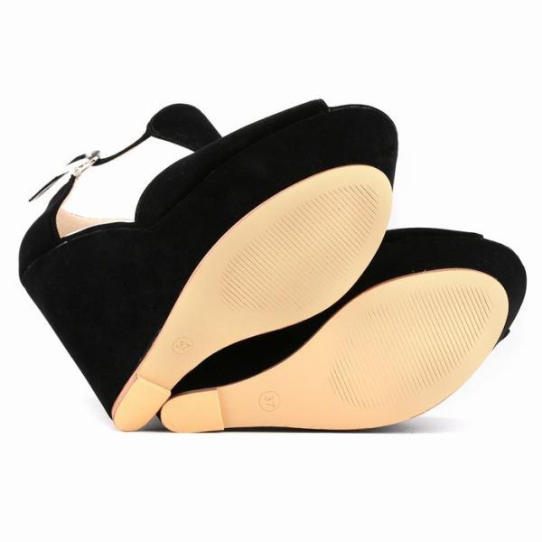 サンダル夏セクシー厚底サンダル 靴 レディースウェッジソール ベルト付き 大きいサイズハイヒール可愛いサンダル靴通勤パンプス カジュアル 脚長〜26cm