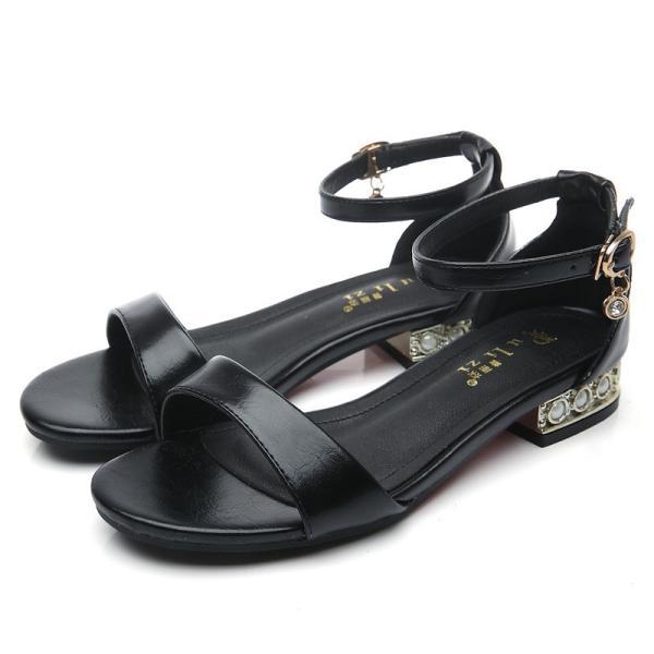 セクシーサンダル 靴 レディース チャンキーヒールサンダル夏セクシー 歩きやすい大きいサイズローヒール可愛いサンダル靴通勤パンプス/白・黒