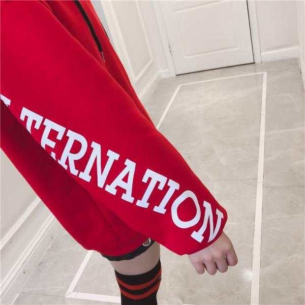 パーカー レディース トップス スウェット トレーナー  字母柄プルオーバー 長袖 大きめ 通勤スポーツウエア  部屋着 オーバーサイズ|tyutenshop|05