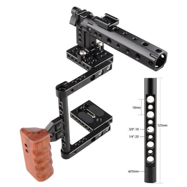 CAMVATE DSLR カメラケージ トップハンドル ウッドグリップ付き 600D、70D等 多機種 兼用(多用型)