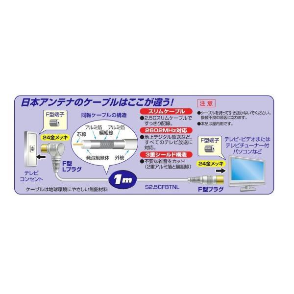 日本アンテナ テレビ接続ケーブル S2.5C 2.6GHz対応 1m S型プラグ-L型プラグ ライトグレー 2T10GLS(H)