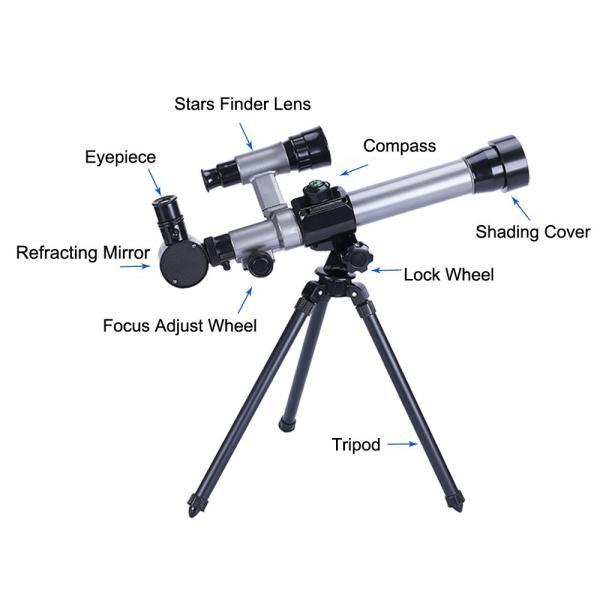 FUNRUI 子供の望遠鏡 20X-30X-40X 調節可能な 天体天文 望遠鏡 子ども 初心者 屈折三脚単眼望遠鏡 コンパス付き おもちゃ|tywith2