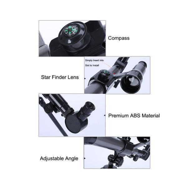 FUNRUI 子供の望遠鏡 20X-30X-40X 調節可能な 天体天文 望遠鏡 子ども 初心者 屈折三脚単眼望遠鏡 コンパス付き おもちゃ|tywith2|02
