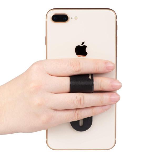 Kenko スマートフォン用マルチバンド MOMOSTICK プラス PU ブラック サイズ調整可能 ガラス面貼付用シール付属 PU-05