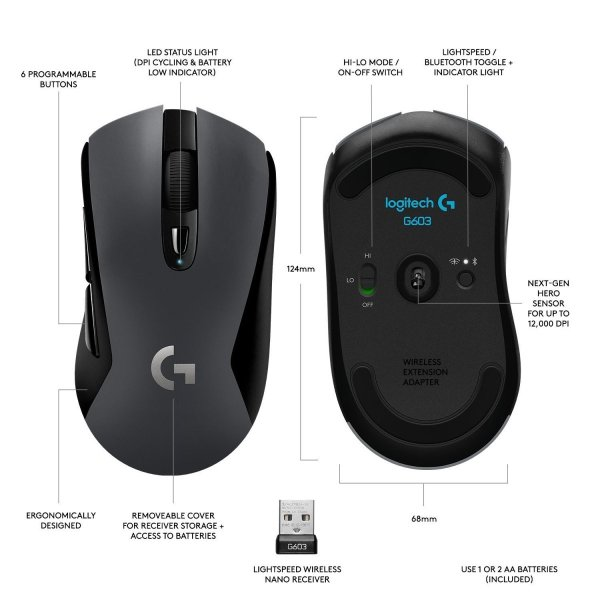 Logitech G603 LIGHTSPEED Wireless Gaming Mouse ワイヤレス ゲーミング マウス Bluetoo|tywith|06