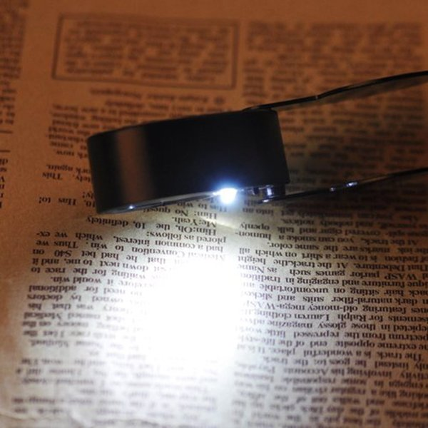J&T ルーペ 40倍ルーペ ポケット ルーペ アルミホルダー 拡大鏡 2灯式 持ち運び 手持ち LEDライト付き JT-03-005H