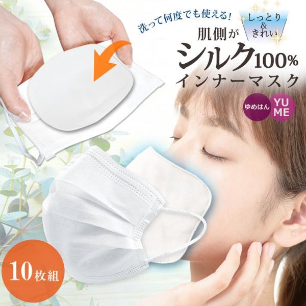 肌側 シルク100% インナーマスク 2枚セット / 肌荒れ防止 保湿 敏感肌 綿100% 口あて布 マスク用 マスクフィルター インナーシート 不織布マスクに最適