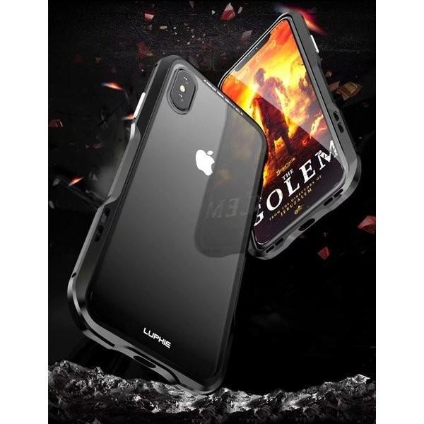 iPhoneX iPhone X ケース カバー iPhoneXケース 磁石止め アルミ マグネット ガラスフィルム 進呈|u-link2|05