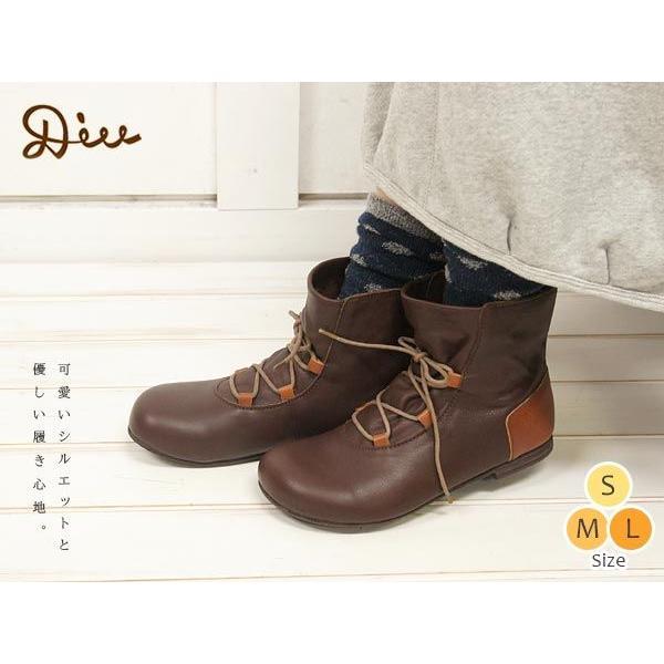 オイルレザーレースアップショートブーツ Diu デュウ ナチュラル 秋冬 くつ 靴 シューズ 革靴