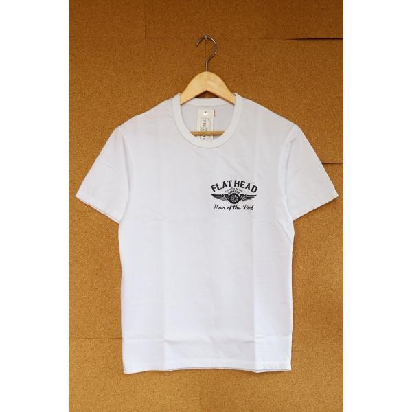 THE FLAT HEAD x 小松美羽 フラットヘッド 2017干支Tシャツ 40 WHT 不死鳥 3本針 タグ付 丸胴 THC-KM05|u-v-c-s-overlock