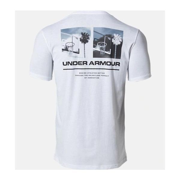 アンダーアーマー メンズ Tシャツ グラフィックTシャツ バックロゴ コットン 速乾 伸縮 1329614 UNDER ARMOUR チャージドコットンTシャツ<スプリットヘム> uacv 04