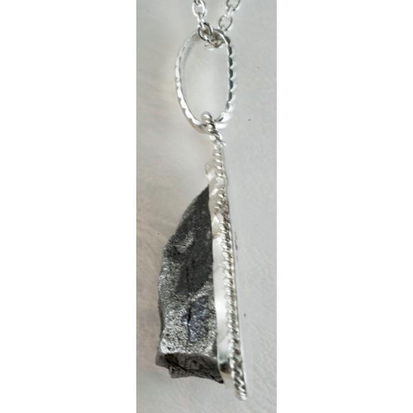 ギベオン原石  隕石 ペンダント 三日月型 シルバー950、925 Gibeon meteorite