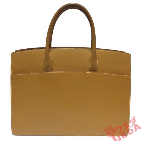 天白 エルメスバッグホワイトバスGMナチュラルヴォーシャモニー銀金具□D刻印2000年製造男女兼用保存袋